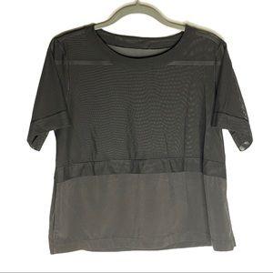 Lululemon Black Half Mesh T-shirt Cropped No Size